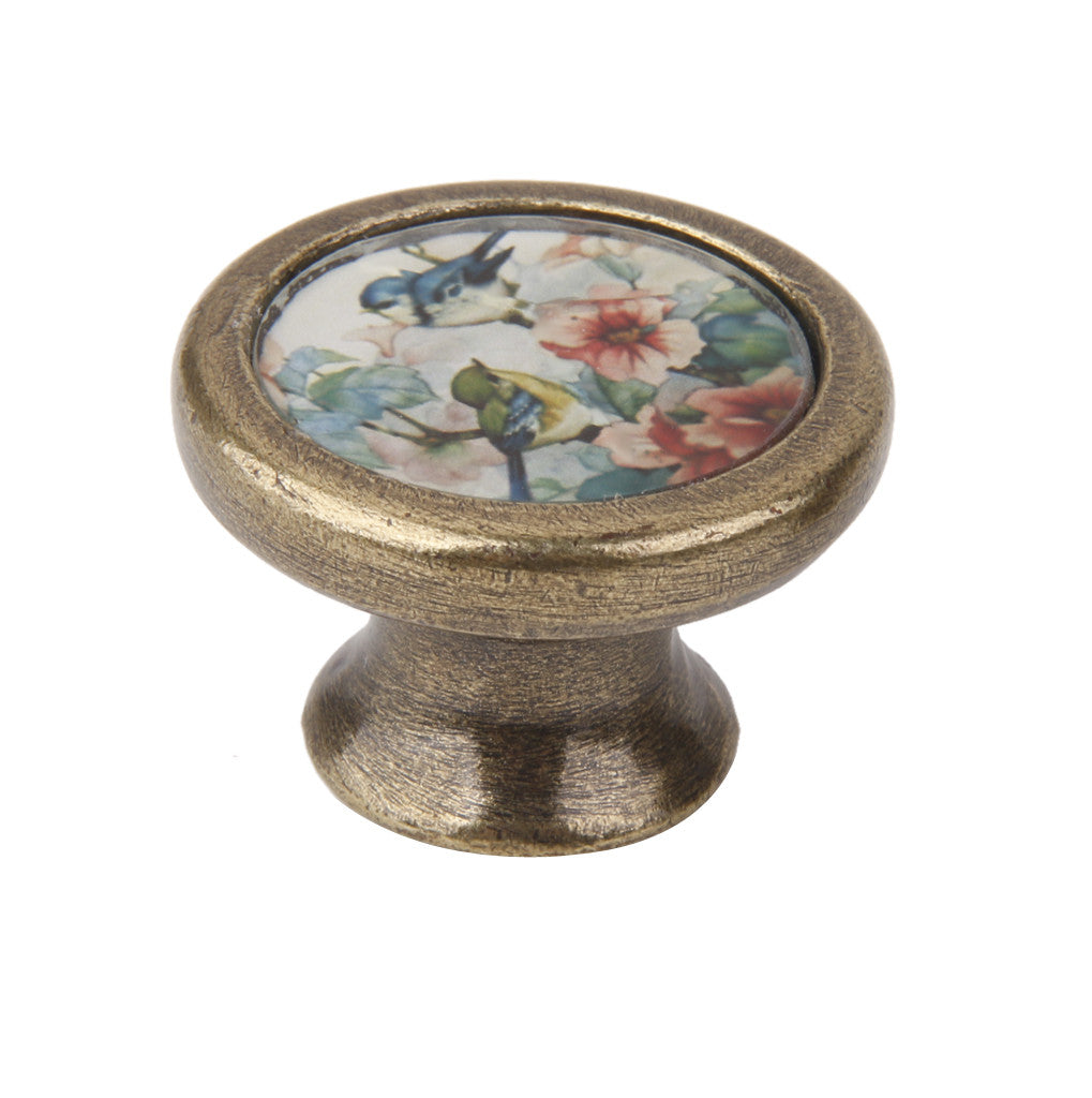 Homyl Vintage Cabinet Door Drawer Bin Handle Pull Knob Hardware -Bird and Flowers