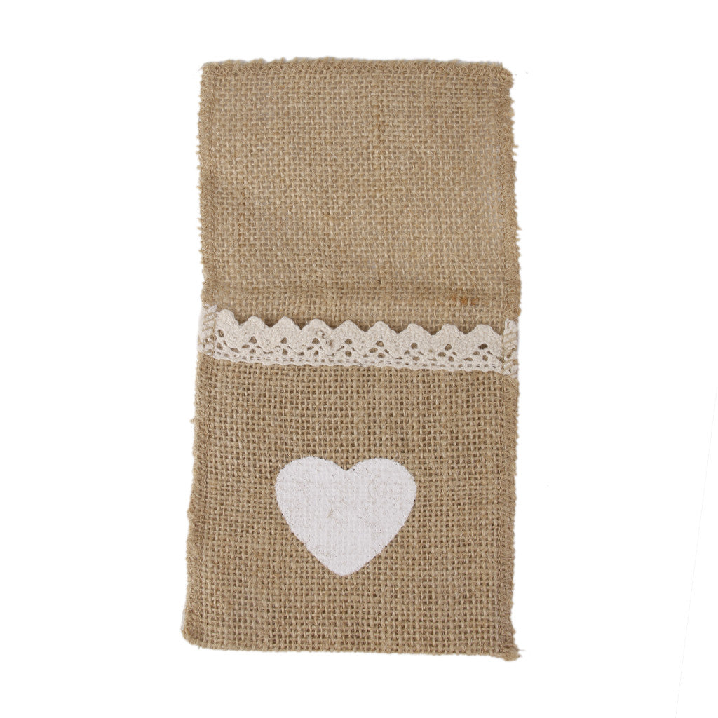 Homyl Hessian Rustic Burlap Cutlery Holder Silverware Holder with Heart Lace Decor