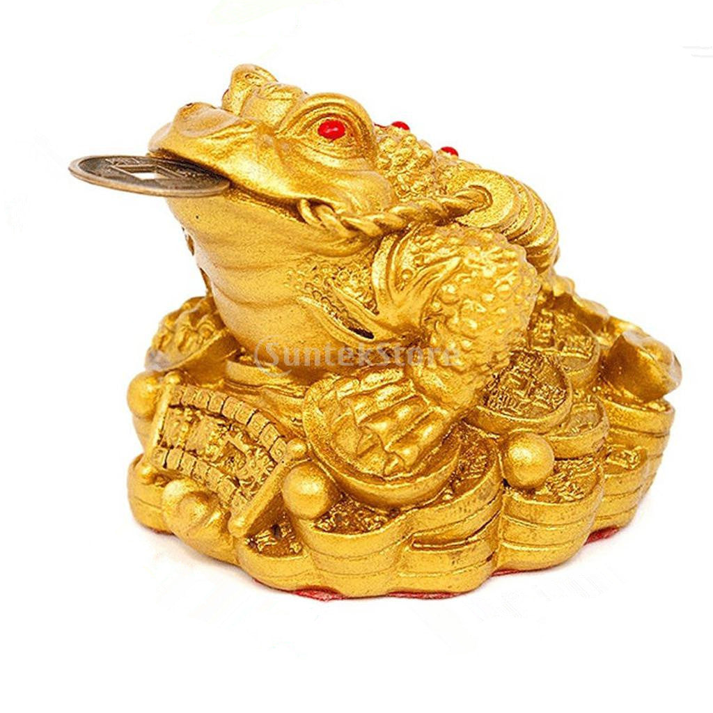 Homyl Feng Shui Money Lucky Fortune Oriental Chinese Wealth Frog Toad Coin Decor