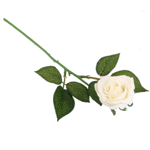 Homyl Artificial Lifelike Single Stem Rose Flower Wedding Party Craft Decor -White