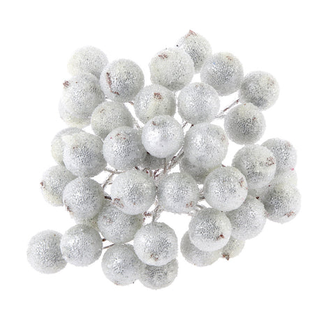Homyl 200x Mini Christmas Frosted Fruit Berry Holly Artificial Flower Decor Silver