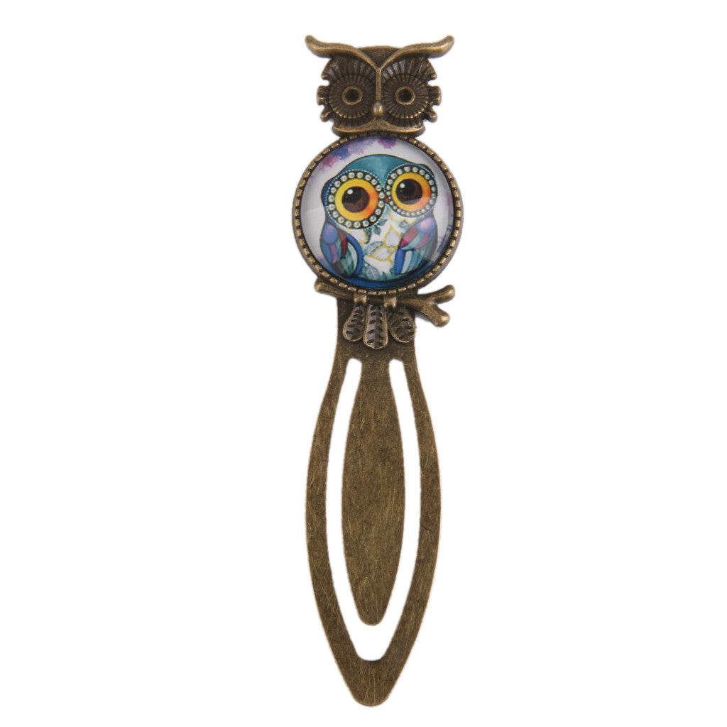 Homyl Antique Style Night Owl Metal Clip Bookmark Marker Reading Gift