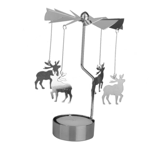 Homyl Rotary Spinning Carousel Deer Tea Light Candle Holder Table Decoration