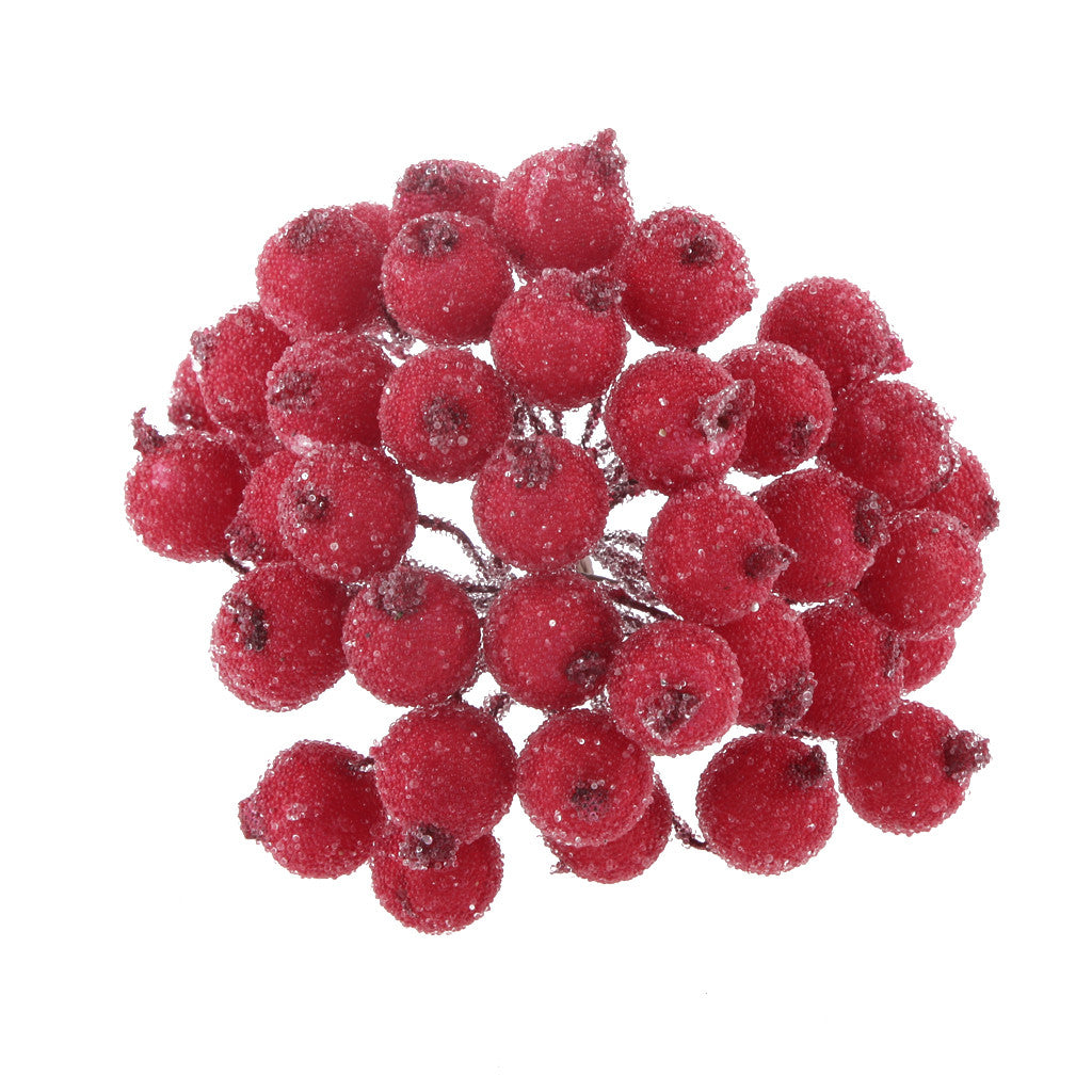 Homyl 200pcs Mini Christmas Frosted Fruit Berry Holly Artificial Flower Decor Red