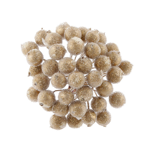 Homyl 200pcs Mini Christmas Frosted Fruit Berry Holly Artificial Flower Decor Gold