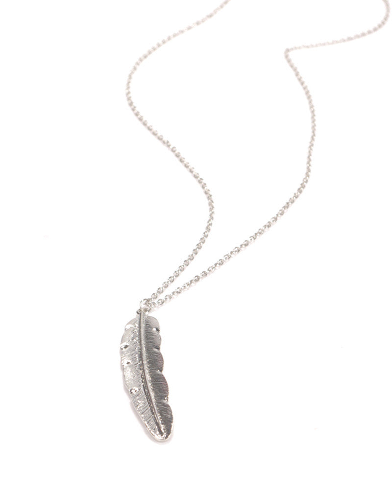 Vintage silver gold plated long feather pendant necklace jewelry vintage silver gold plated long feather pendant necklace jewelry mozeypictures Gallery