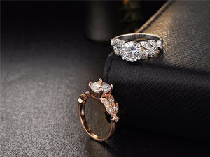 Silver Color Crystal Flower Wedding Engagement Rings For Women - Cultured Lady
