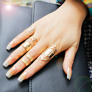 5 Piece 18K Gold Plated Ring Set - Cultured Lady
