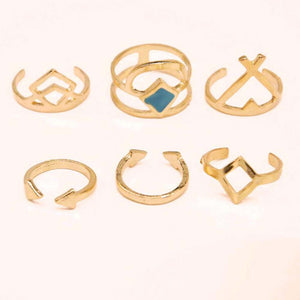 6 Piece Stackable Midi Ring Sets (Silver or Gold) - Cultured Lady