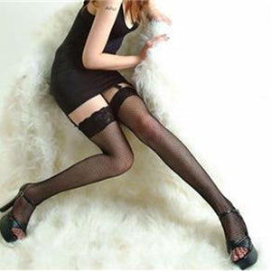 Women Sexy Stockings Elastic Leggings Lace Top Hollow Fishnet Thigh - Cultured Lady