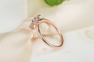Sterling Silver Rings Dazzling Daisy, Rose Gold Plated & Clear CZ Finger Ring - Cultured Lady