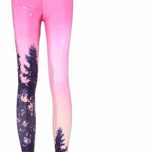 Slim Designed Digital Printed Aurora Skye Orange Leggings - Cultured Lady