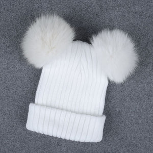Women's Double Pom Pom Knitted Winter Beanie Hat - Cultured Lady