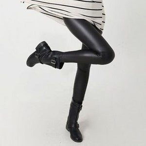 Women Pants Trousers Sexy Slim Shiny Fitness  Faux Leather Legging - Cultured Lady