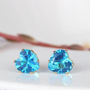 Geometric Rhinestone Heart Crystal Stud Earrings - Cultured Lady