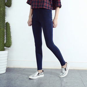 Spring Autumn Fashion Skinny Slim Thin High Elastic Waist Washed Jeans Jeggings Pencil Pants Denim Leggings - Cultured Lady