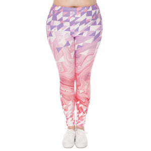 Warm Colorful Large Geometry Printing High Elastic Fitness Trousers Legging - Cultured Lady