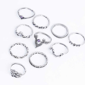 Fashion 10Pcs/Set Bohemian Hollow Water Drop Pattern Vintage Crystal Hand Ring - Cultured Lady