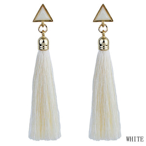 Triangle Rhinestone Drop Long Tassel Earrings - Cultured Lady