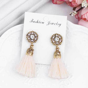 Vintage Bright Brick Flower Ancient Long Tassel Drop Dangle Earrings - Cultured Lady