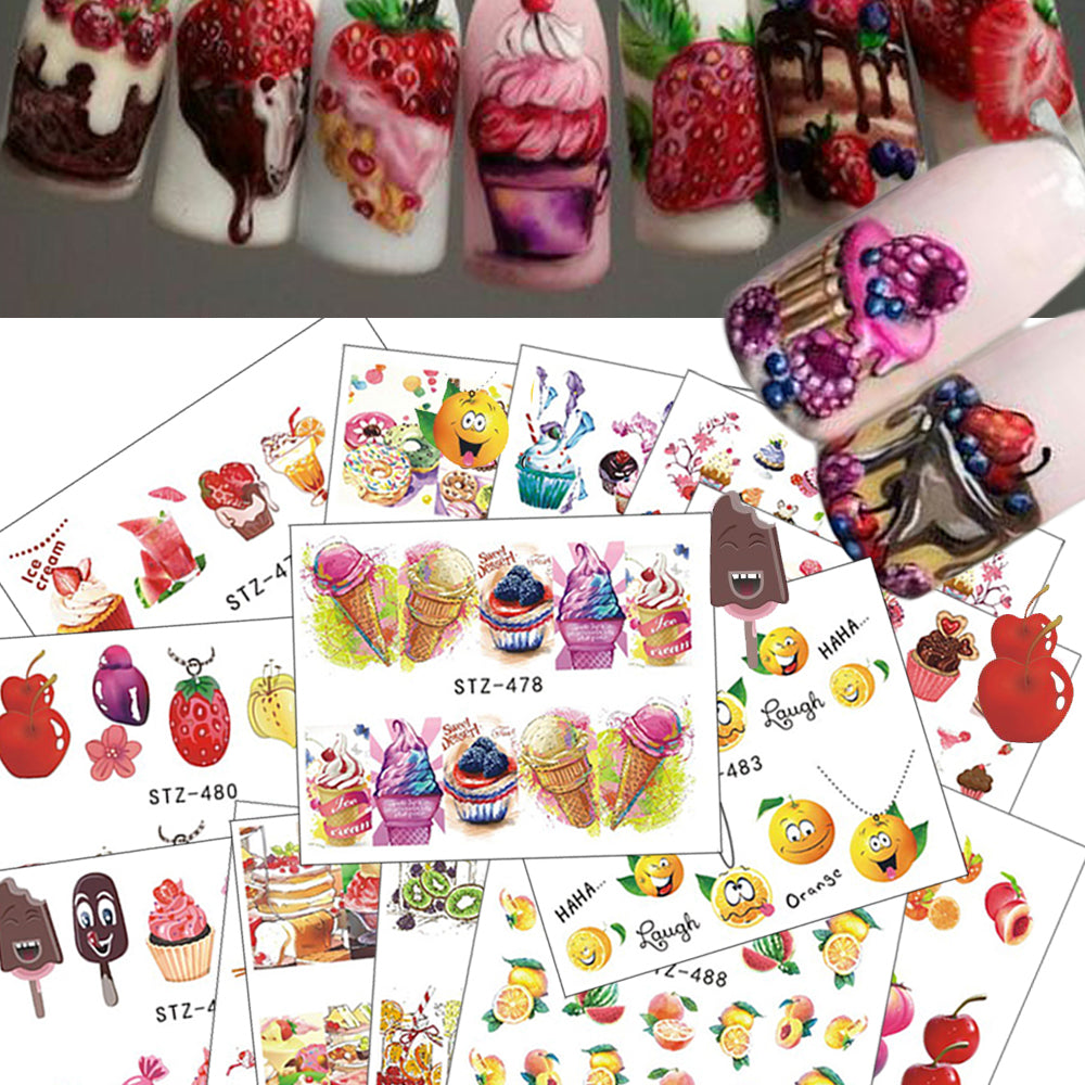 18pcs Hot Cake/Ice Cream Nail Sticker Mixed Colorful Designs - Cultured Lady