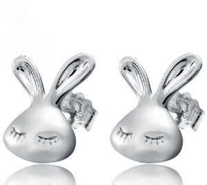 Cute Rabbit Silver Lovely Animal Bunny Stud Earrings - Cultured Lady