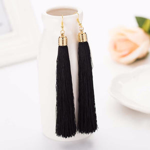 Tassel Long Big Dangle Drop Earrings - Cultured Lady