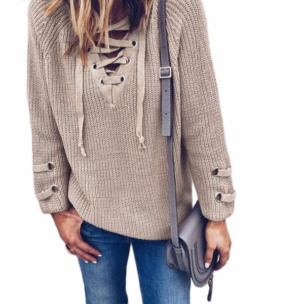 V Neck Knitted Lace Up Cross Ties Tops Loose Sweater and Pullovers - Cultured  Lady 57d805c7b
