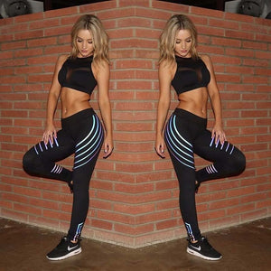 Reflective Yoga Pants Glow in the Dark Night Light Stripes - Cultured Lady