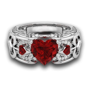 Natural Birthstone Bride Wedding Engagement Heart Ring - Cultured Lady