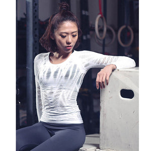 Hollow Out Yoga Top Full Sleeve - Cultured Lady