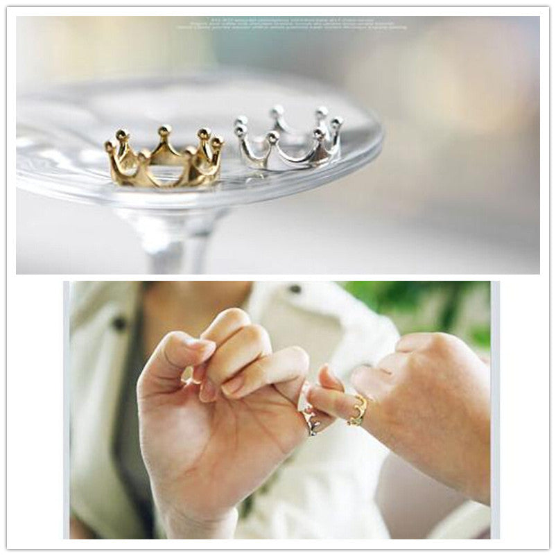 Elegant Crown Finger Ring (Silver or Gold Plated) - Cultured Lady