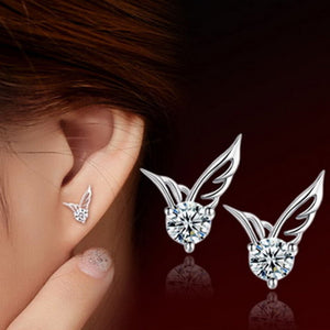 Silver Angel Wings Crystal Stud Earrings - Cultured Lady