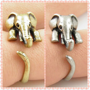Adjustable Elephant Wrap Ring for Women (Antique Silver or Gold) - Cultured Lady
