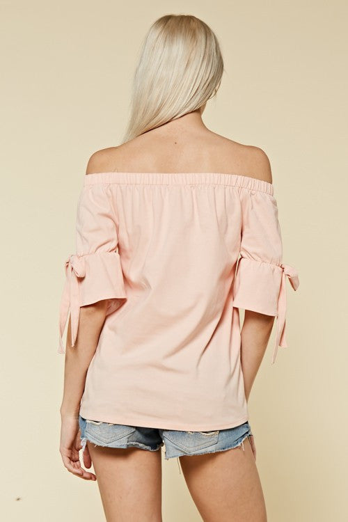 Sassy Shoulder Top (peach)
