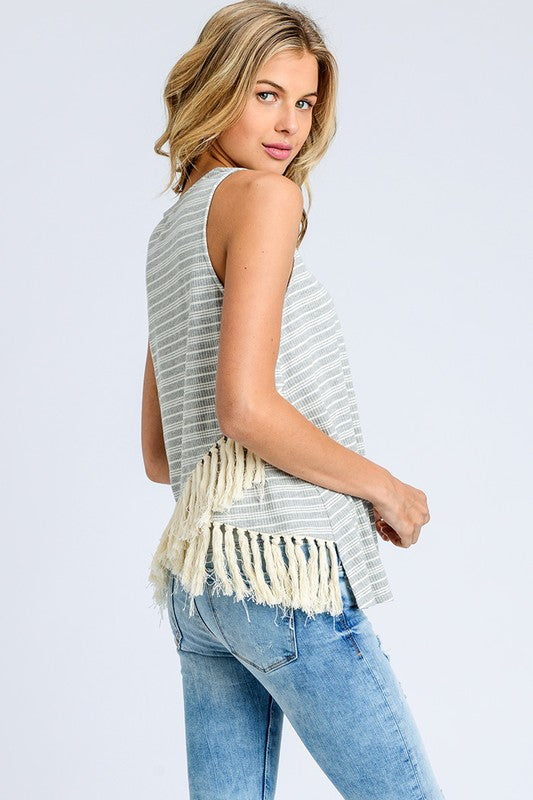 Fringe Tank (grey & cream)