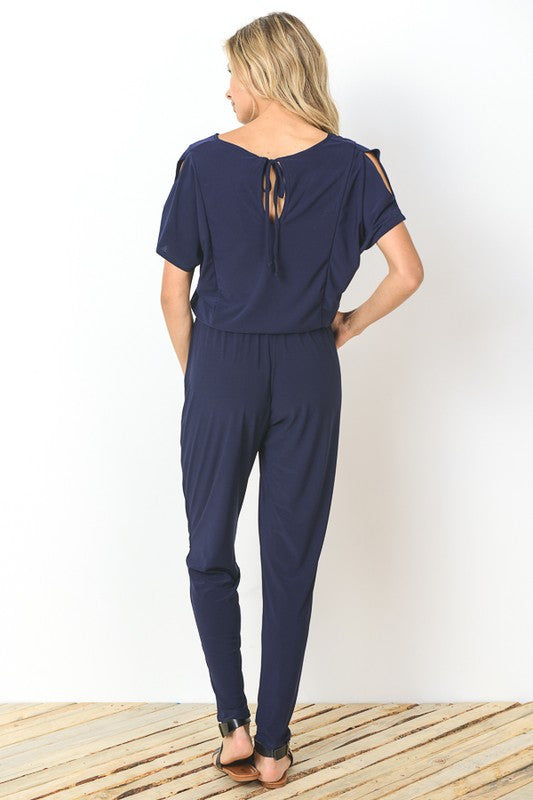 Comfy Peep-Shoulder Jumpsuit (navy)
