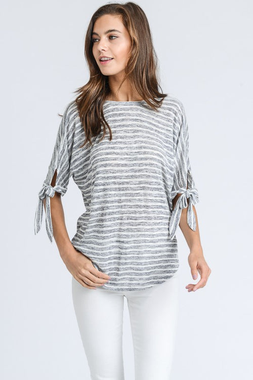 Nicole Striped Top (gray)