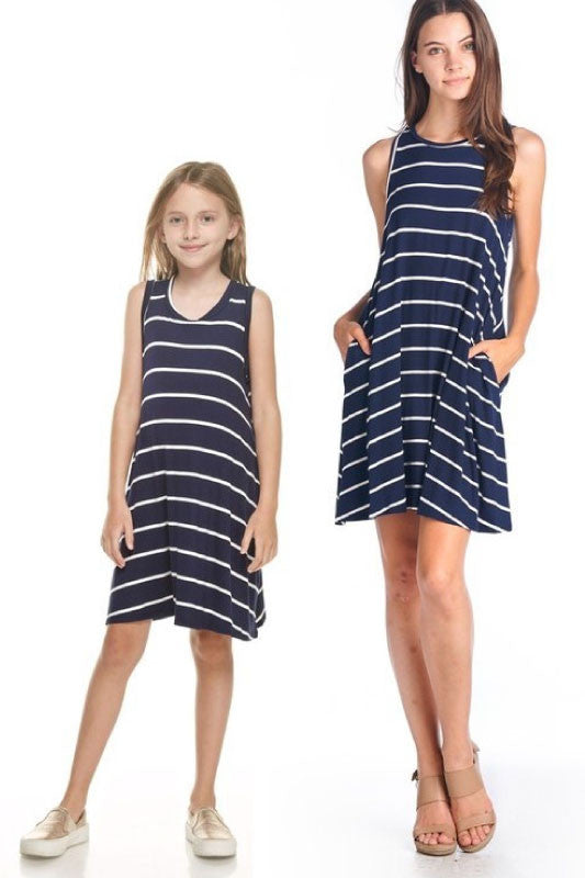 Mommy and Me~Stripes Away (navy)