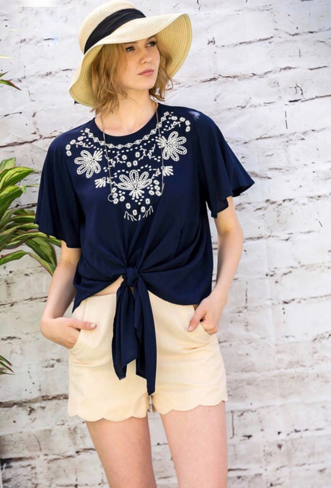 Belize top (navy)