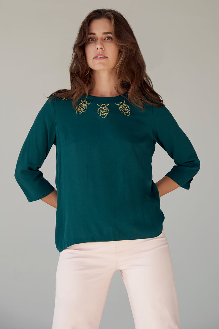The Frances Top - Forrest Green