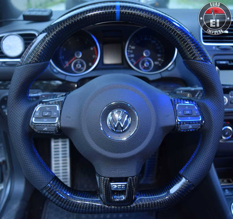 Wheels - EURO IMPULSE CARBON FIBER FLAT BOTTOM STEERING WHEEL - MK6-GTI