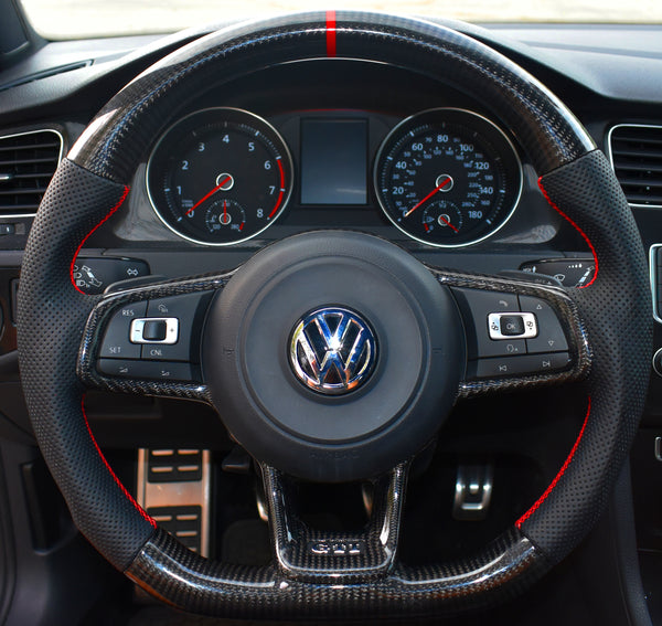 Wheels - EURO IMPULSE CARBON FIBER FLAT BOTTOM STEERING WHEEL - MK7-GTI / GOLF R