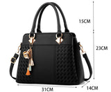 Fashion Women Handbags Tassel PU Leather Totes Top-handle Embroidery Crossbody Shoulder Bag Lady Simple Style