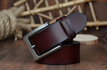 Men's genuine cow leather luxury strap belts (plate buckle)