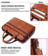 "Men's Briefcase For 14"" Laptop Business 2Pcs Set Handbags High Quality Leather Office Shoulder Tote"