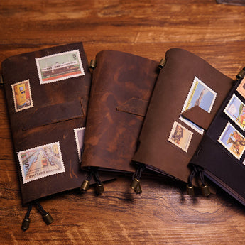 Handmade genuine leather travel case journal vintage notebooks