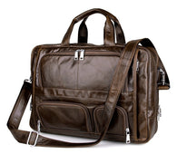 Large Capacity Real Genuine Leather Men Messenger Business Travel 15.6'' Laptop Briefcase Bag