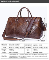 Travel Bag for Luggage Genuine Leather Duffle Suitcase Carry on Big Weekend