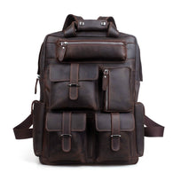 England Style Designer High Quality Genuine Leather Travel Backpack Bags business hiking napsack